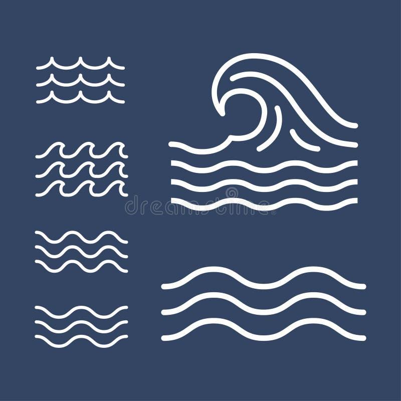 Linee semplici piane delle onde dell'oceano, mare, icone illustrazione vettoriale