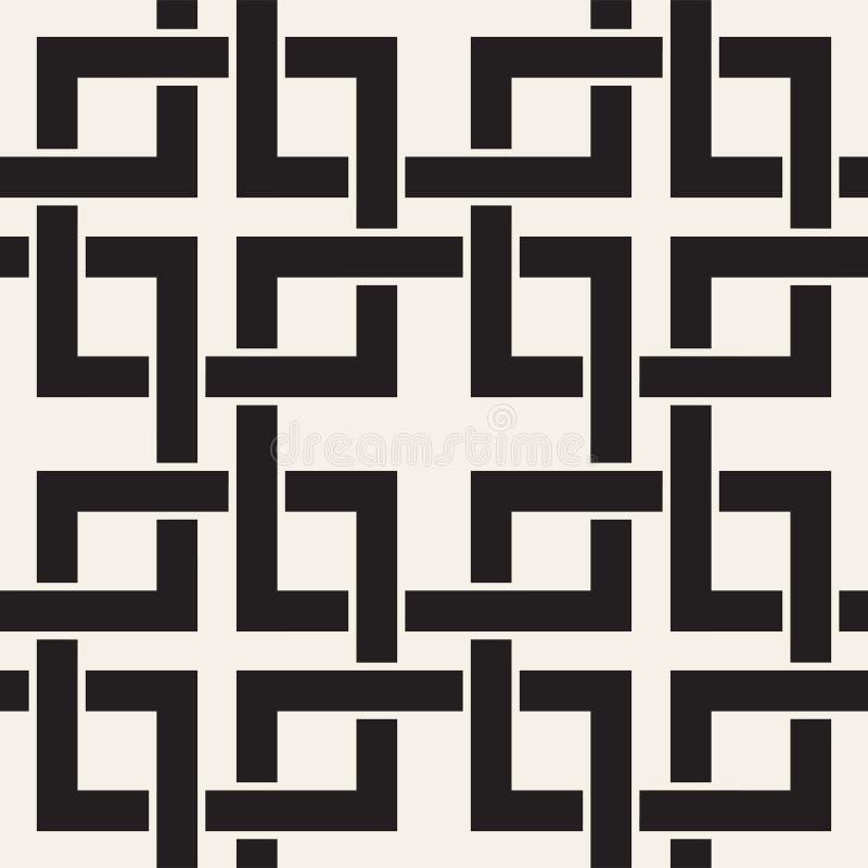 Linee senza cuciture modello di vettore Fondo astratto con i quadrati d'intreccio Struttura monocromatica geometrica della grata  illustrazione vettoriale