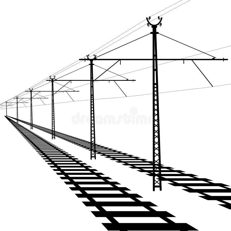 Linee sopraelevate della ferrovia. Filo di contatto. Vettore illustrazione di stock