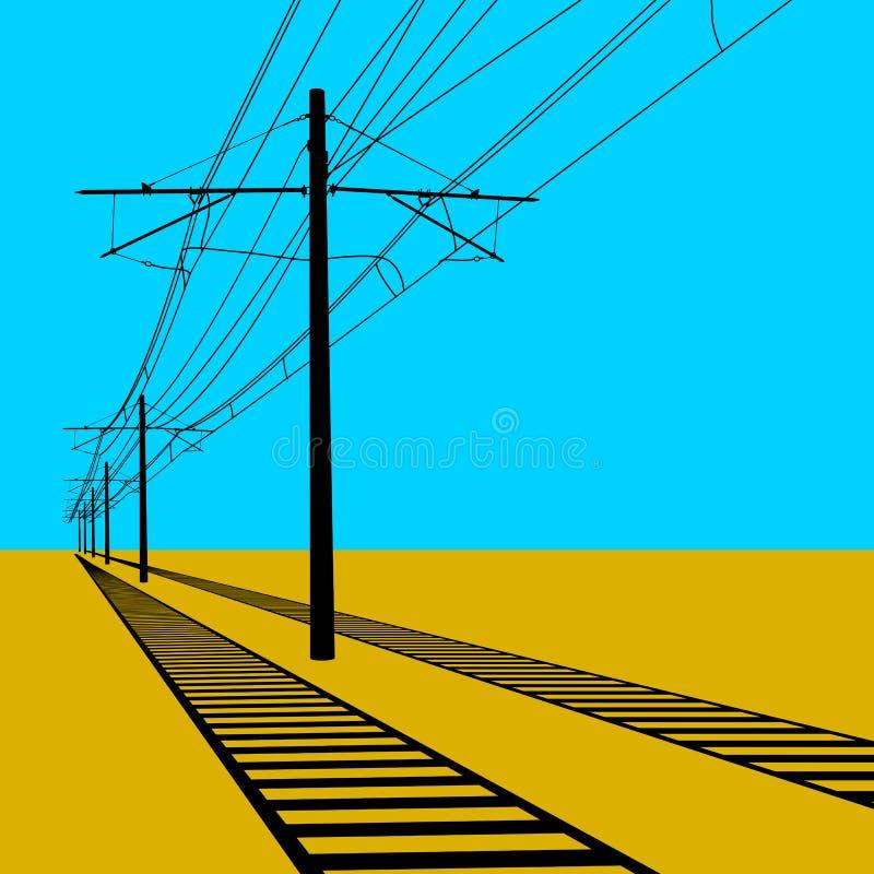 Linee sopraelevate filo di contatto della ferrovia Illustrazione di vettore royalty illustrazione gratis