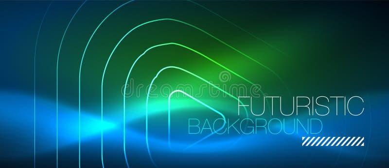 Linee techne d'ardore al neon, modello astratto futuristico del fondo di ciao-tecnologia con le forme geometriche royalty illustrazione gratis