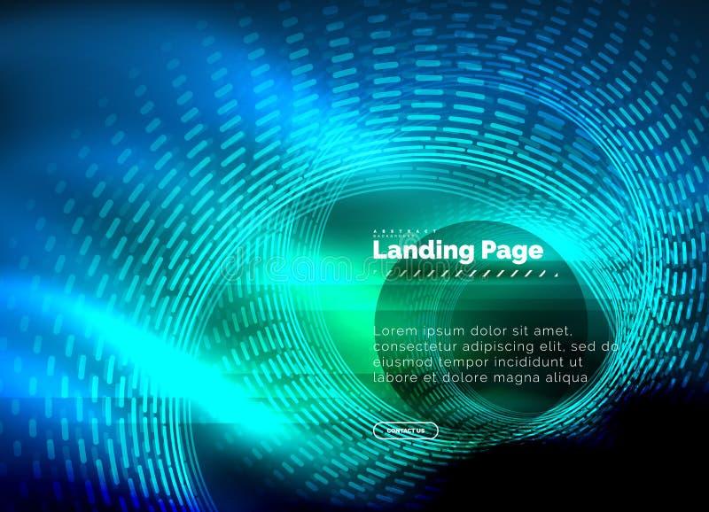 Linee techne d'ardore del neon, modello astratto futuristico con i cerchi, modello d'atterraggio del fondo di ciao-tecnologia del royalty illustrazione gratis