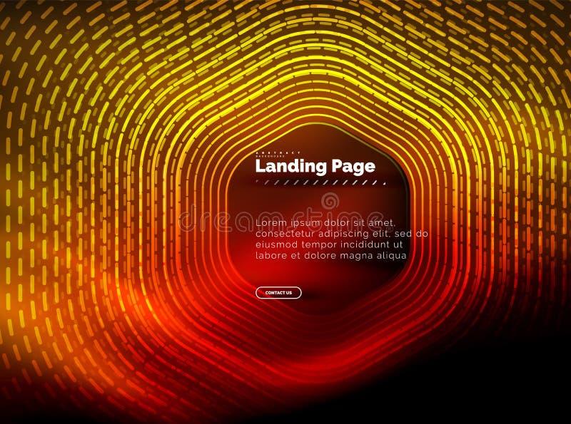 Linee techne d'ardore di forma di esagono del neon, fondo astratto futuristico di ciao-tecnologia, modello d'atterraggio della pa illustrazione di stock