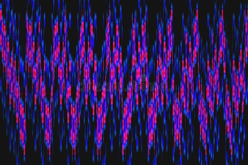 Linee torte d'ardore multicolori su fondo nero Frattale al neon brillante illustrazione vettoriale
