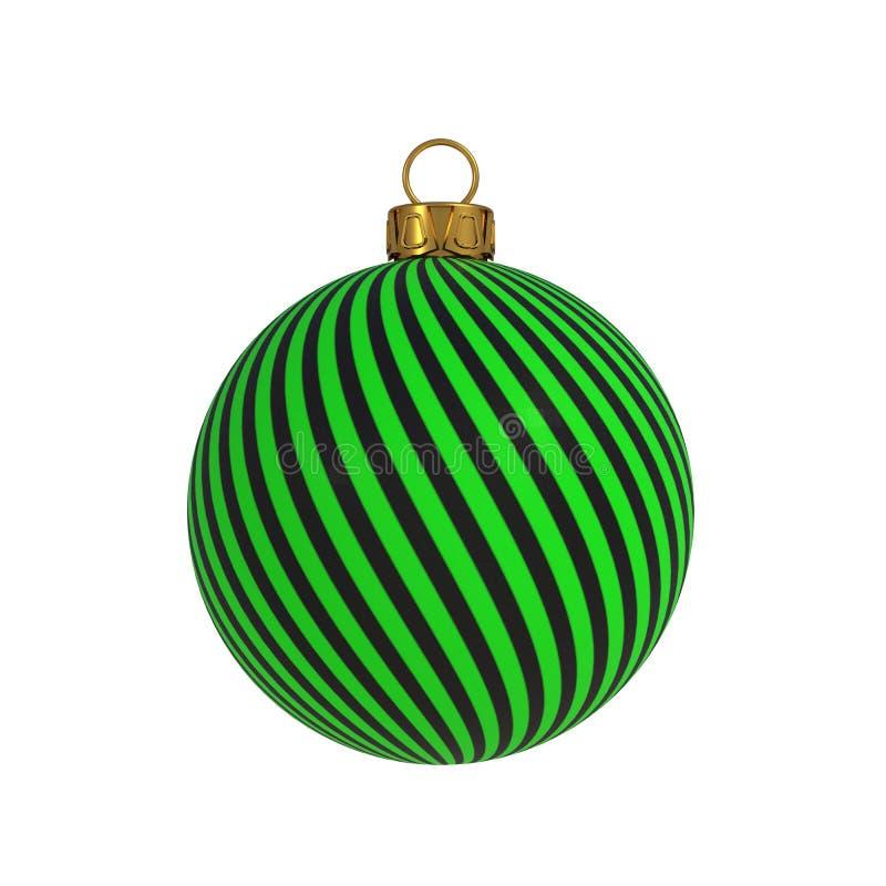Linee verdi ricordo d'attaccatura dell'avvolgimento del nero della decorazione di notte di San Silvestro della palla di Natale de illustrazione di stock