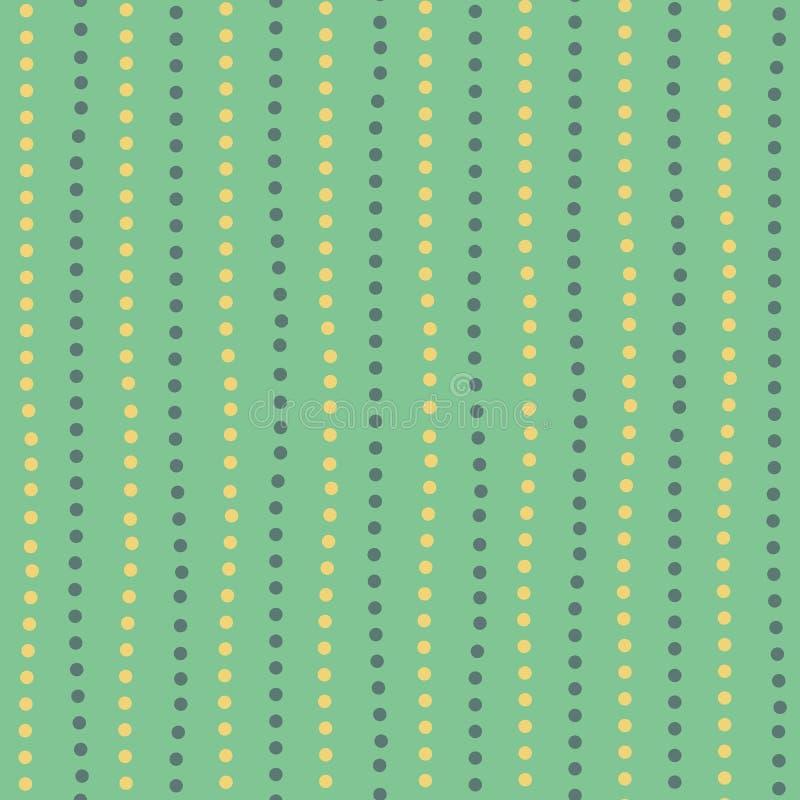 Linee verticali casuali punteggiate disegnate a mano gialle e verdi moderne Modello geometrico senza cuciture sul fondo di verde  royalty illustrazione gratis
