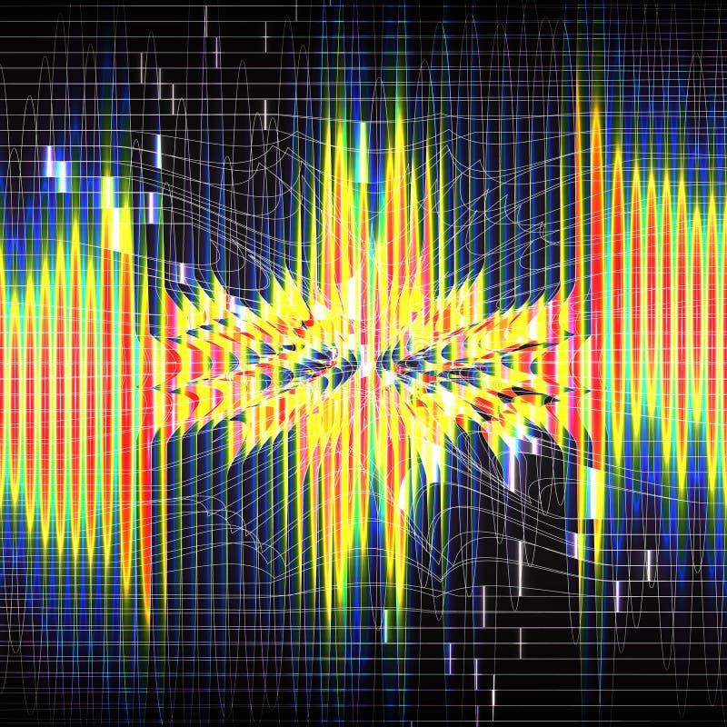 Linee verticali luminose di colore spettrale dell'arcobaleno su fondo scuro Rete neurale Perturbazione di spazio royalty illustrazione gratis