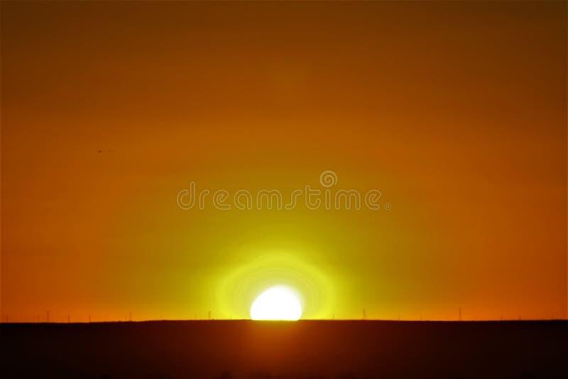 The Lineman`s Arid Desert Sunset royalty free stock image