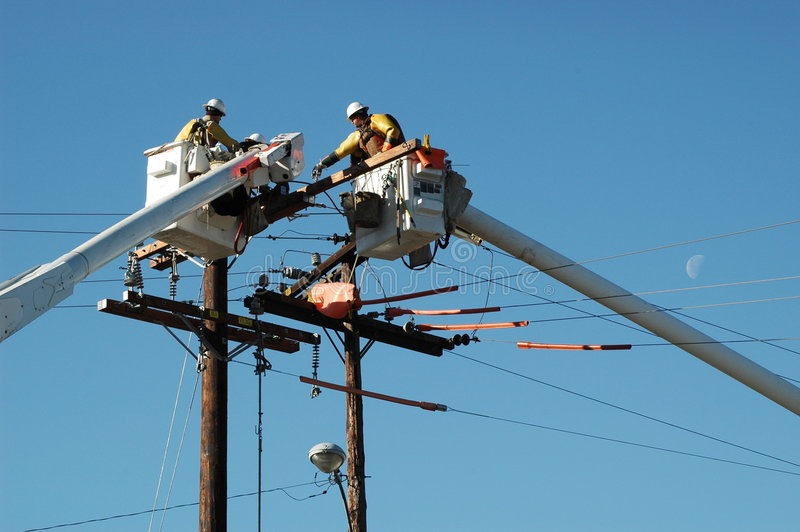 Linemen stock image