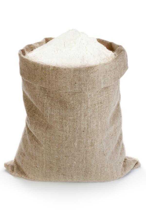 Linen мешок с мукой стоковые изображения rf
