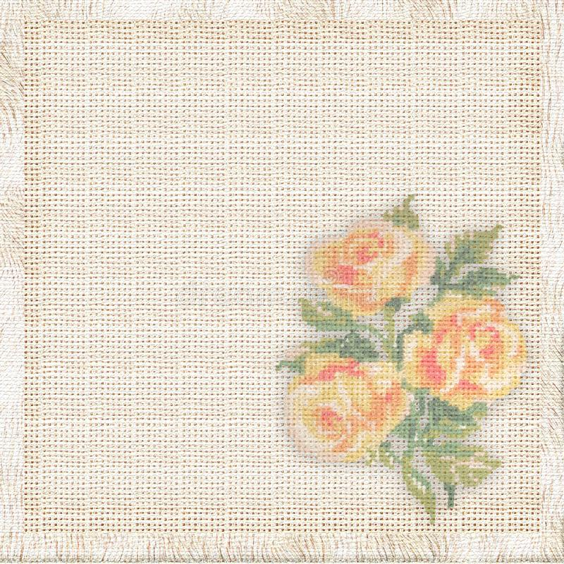 Download Linen Background With The Embroidered Roses Stock Illustration - Illustration of orange, pleasant: 10117940