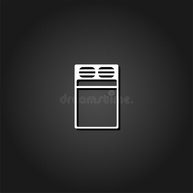 Linen bed icon flat. vector illustration