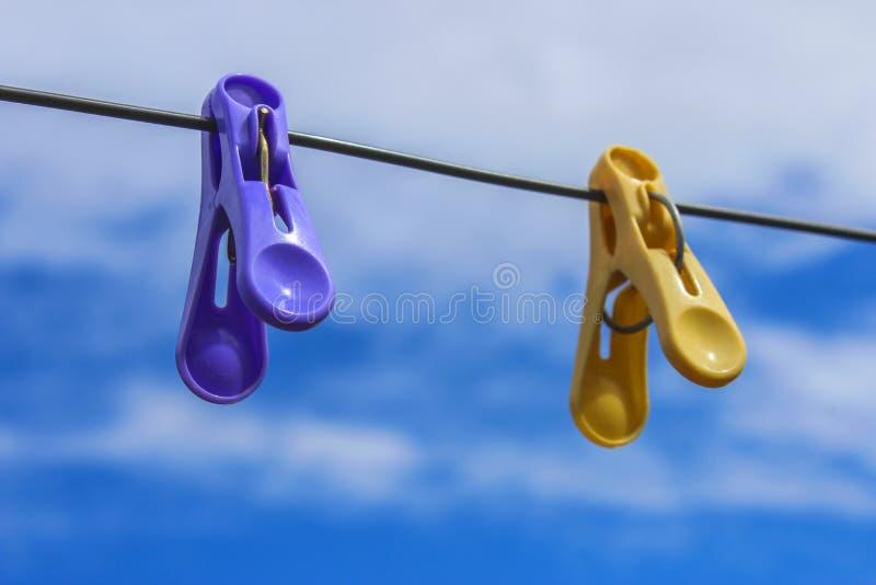 Linen clothespins stock photo