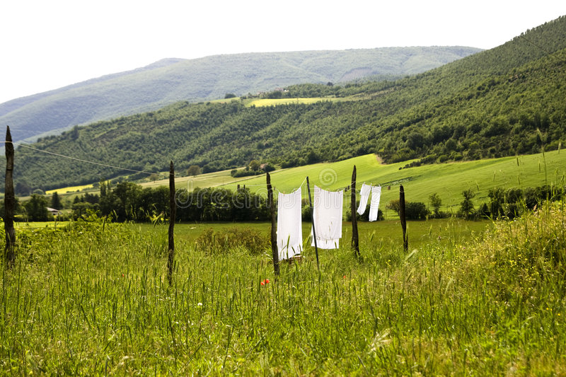 Download Linen drying stock image. Image of laundry, landscape - 5361961