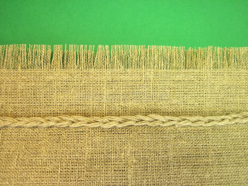 Linen fabric. Isolated on green background royalty free stock images