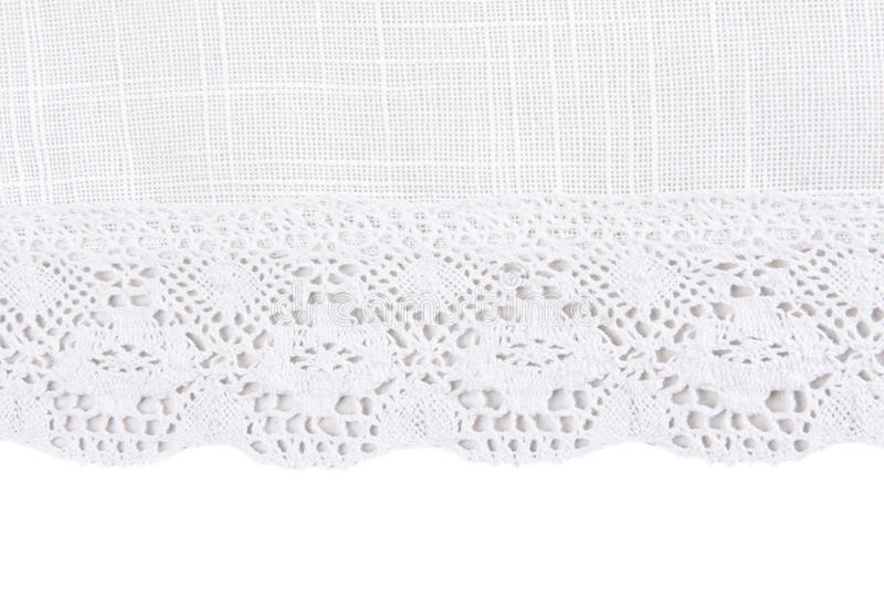 Linen fabric with lace. Light linen fabric with lace on a white background stock photography