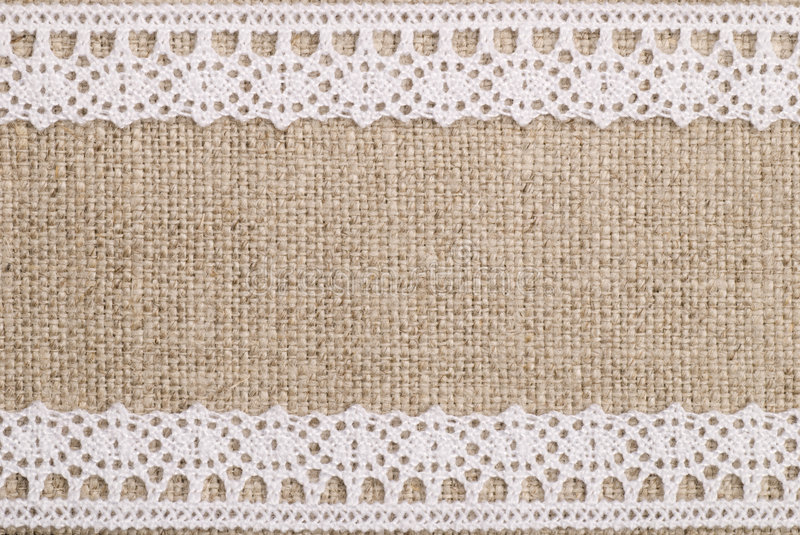 Linen With Lace. Quality linen with white lace royalty free stock image