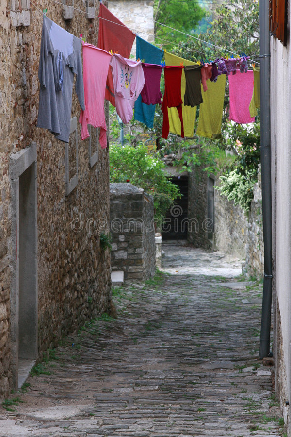 Linen In Motovun Streets Royalty Free Stock Photography
