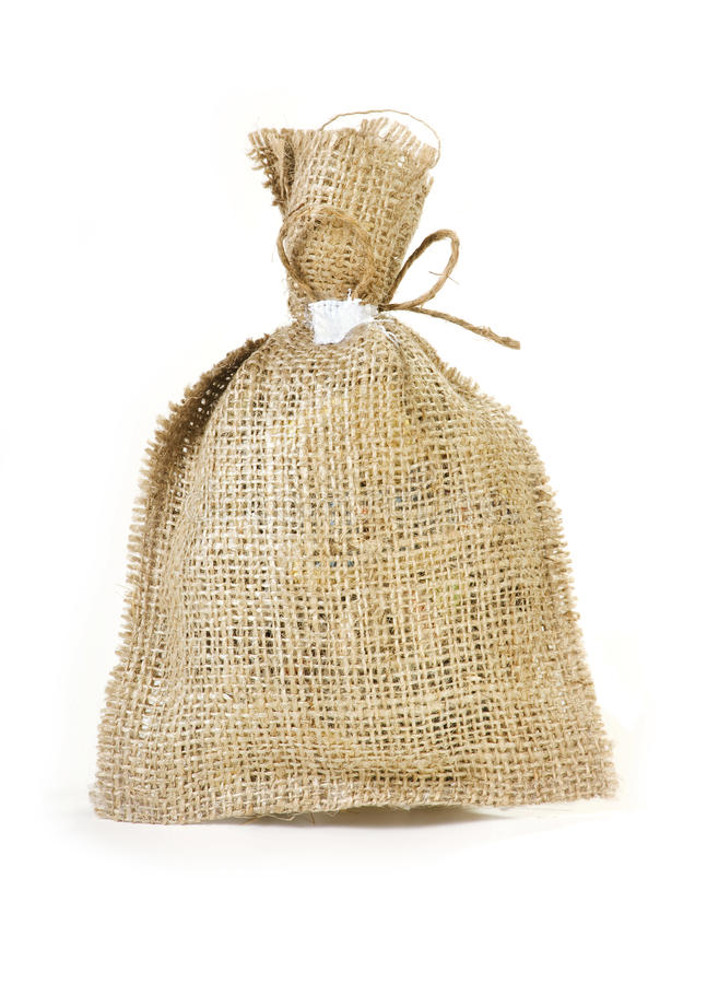 Linen packet. For different potion or dried herbage royalty free stock photo