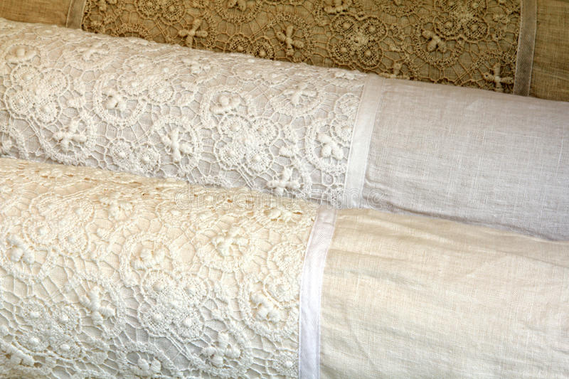 Download Linen Pillow Cases With Cotton Crochet Lace Stock Photo - Image: 26383604