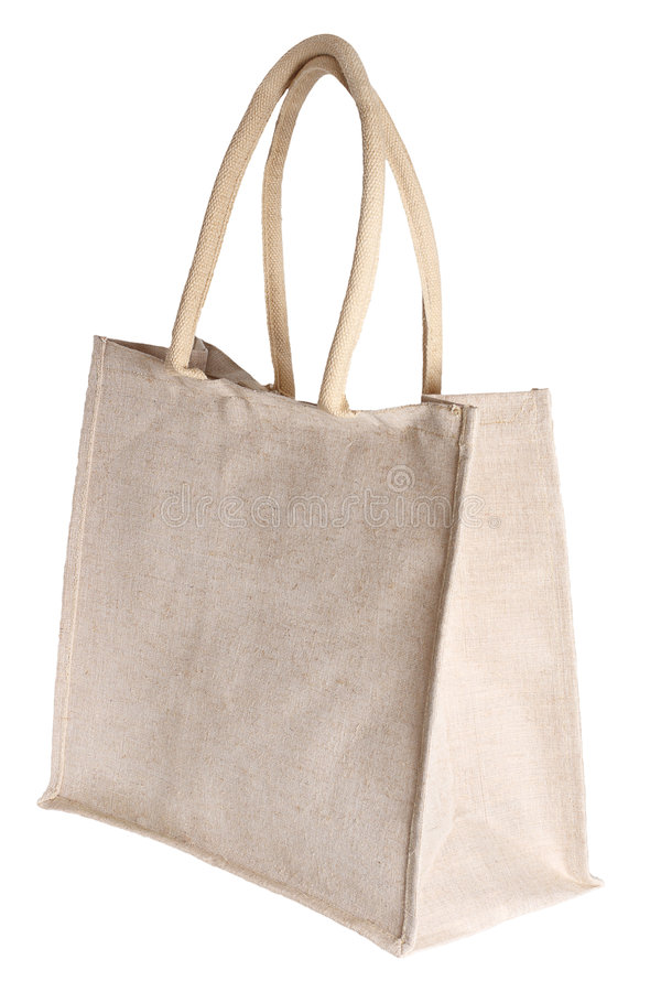 Linen Shopping Bag Isolated On White Royalty Free Stock Image