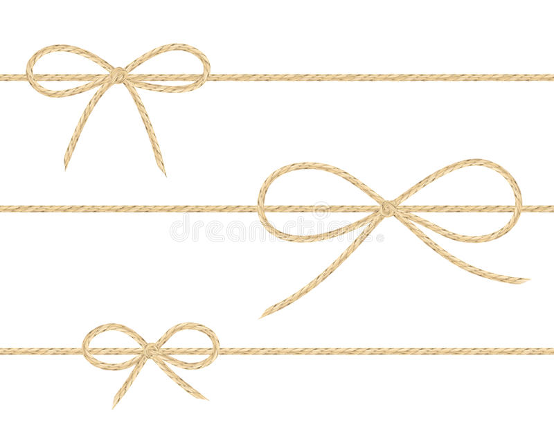 Linen string bows. A set of realistic linen string bows. Vector illustration of different types of ribbons and linen string patterns vector illustration