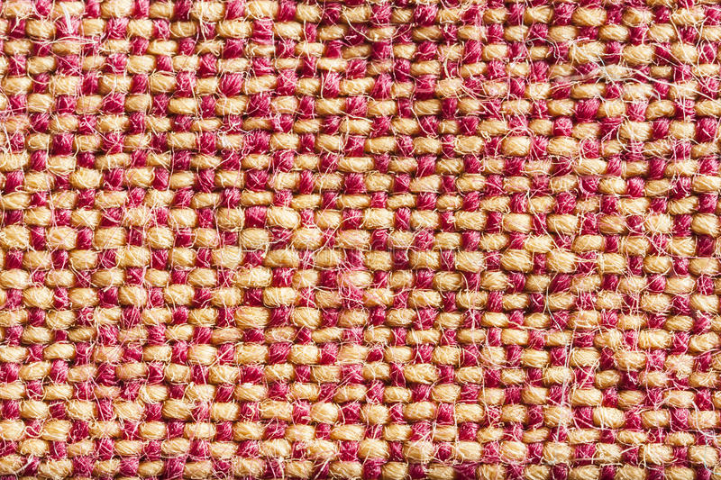Linen texture. Yellow red linen texture, background texture royalty free stock photo