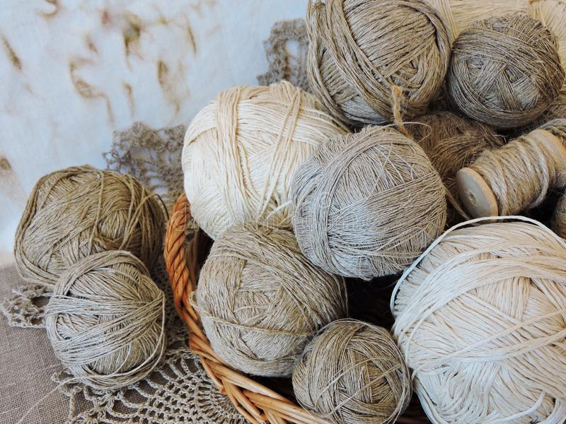 Linen thread balls for handicraft royalty free stock image