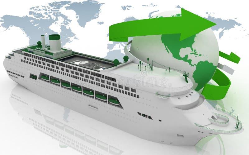 Liner cruise for a round-world voyage. 3d render illustration stock illustration