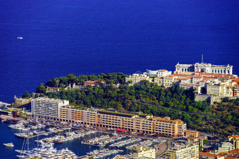 Liner and yachts in Monaco harbor stock photos