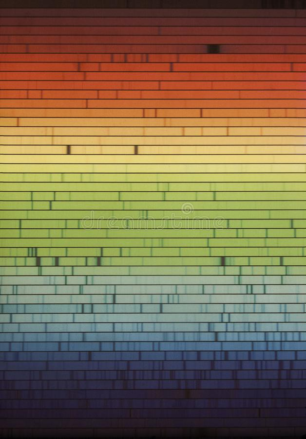 Electromagnetic spectrum. Lines of absorption in an electromagnetic spectrum of emission, a physic property of matter stock photos