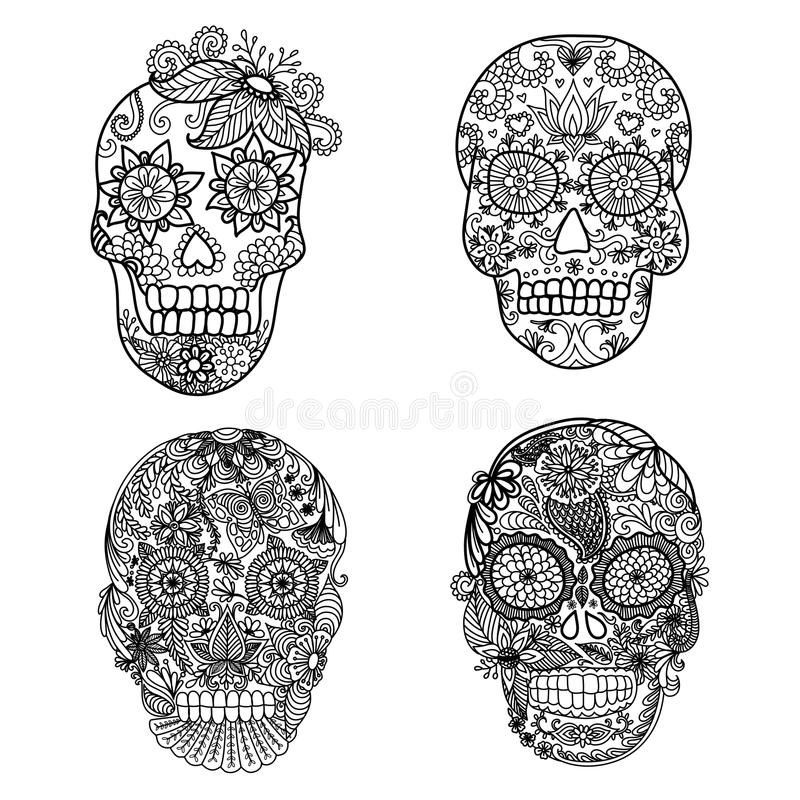 Lines Art Design Of Unique Floral Skulls For Adult Coloring Pages ...