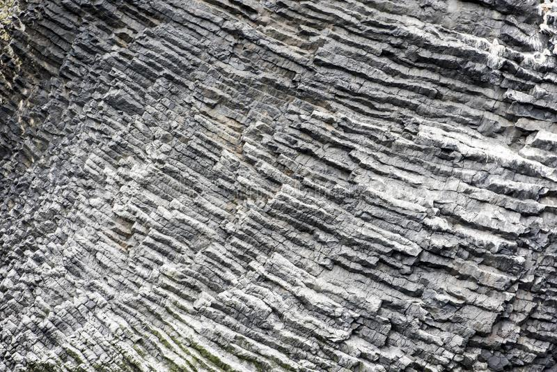 Natural basalt wall in rocks, Iceland stock photo