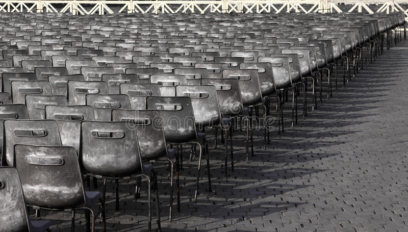 Lines of Chairs stock images