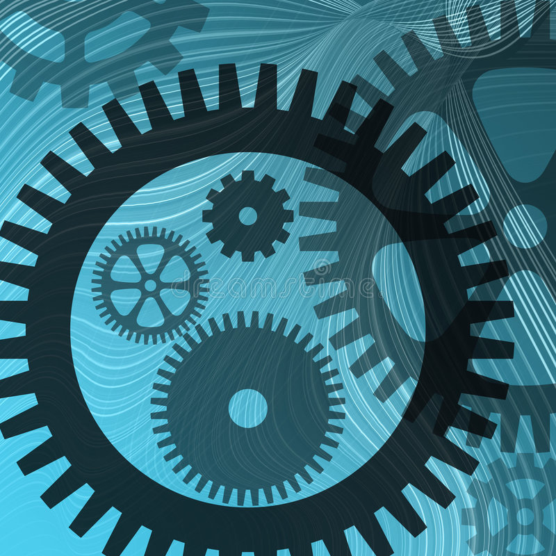 Lines and cogs on blue stock illustration