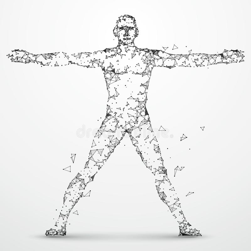 Lines connected to Human body. Lines connected to Human body, symbolizing the meaning of artificial intelligence stock illustration