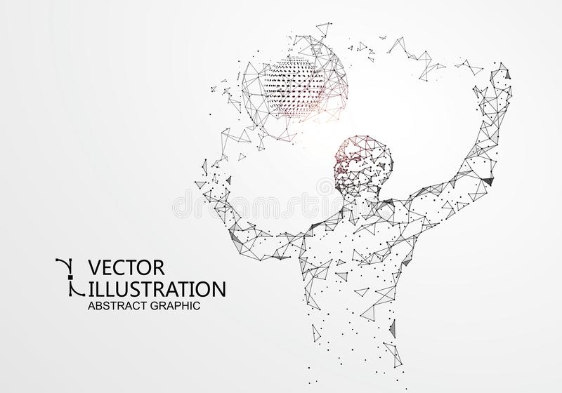 Lines connected to people, symbolizing the meaning of artificial intelligence. Lines connected to people, symbolizing the meaning of artificial intelligence vector illustration