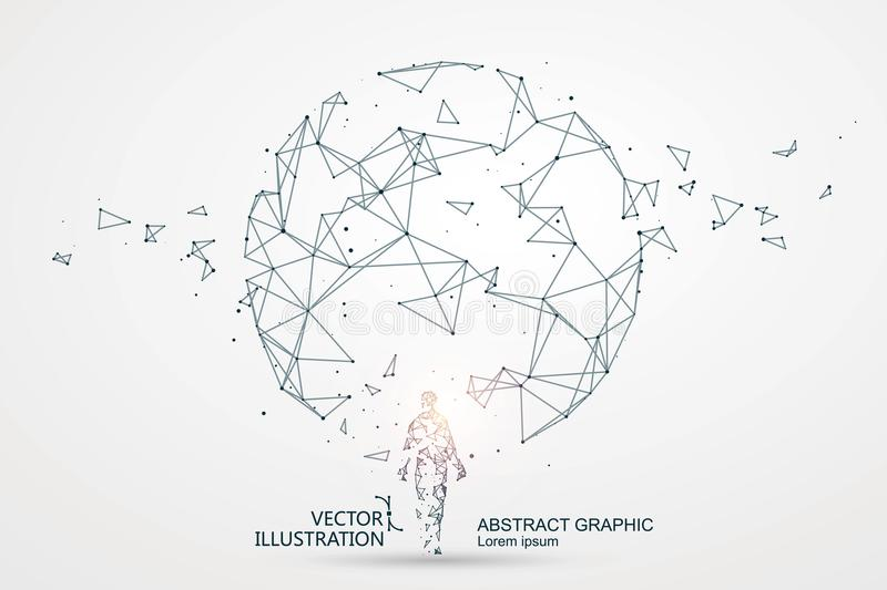 Lines connected to Science fiction scene. vector illustration