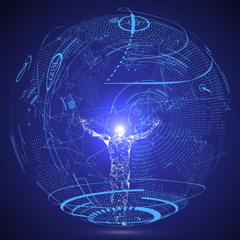 Lines connected to Science fiction scene, symbolizing the meaning of artificial intelligence. Lines connected to Science fiction scene, symbolizing the meaning stock illustration
