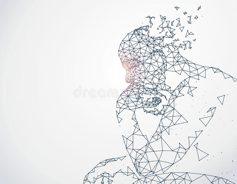Lines connected to thinkers. Lines connected to thinkers, symbolizing the meaning of artificial intelligence vector illustration