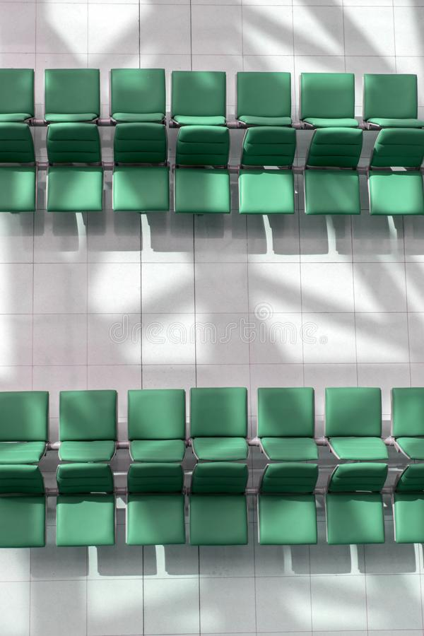 A lines of empty seats in the hall, view from above. royalty free stock images