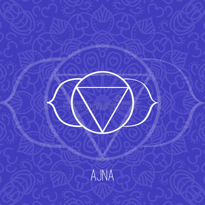 Lines geometric illustration of one of the seven chakras - Ajna on blue background, the symbol of Hinduism, Buddhism. Lines geometric illustration of one of the vector illustration