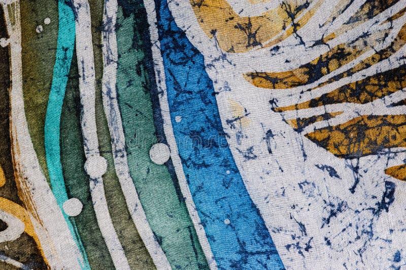 Lines, hot batik, background texture, handmade on silk royalty free stock image