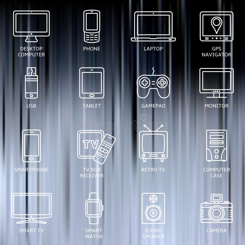 Lines icon set - responsive devices. Thin line icons set. Icons for technology, electronic devices. Vector illustration royalty free illustration