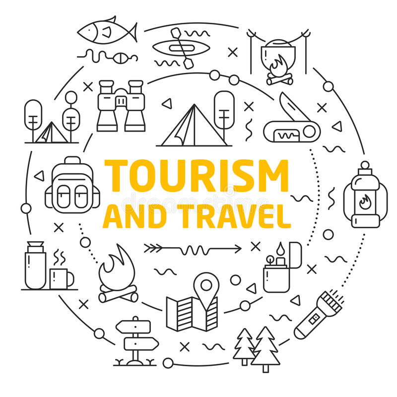 Lines icons illustration circle tourism and travel royalty free illustration