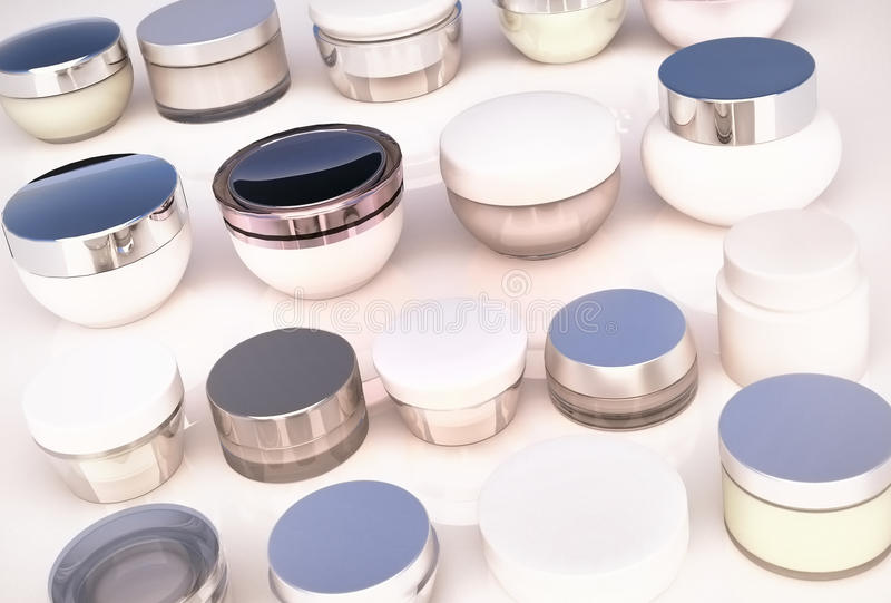 Lines of jars of creams. The view from the top. Lines of jars of face creams. The view from the top stock photography
