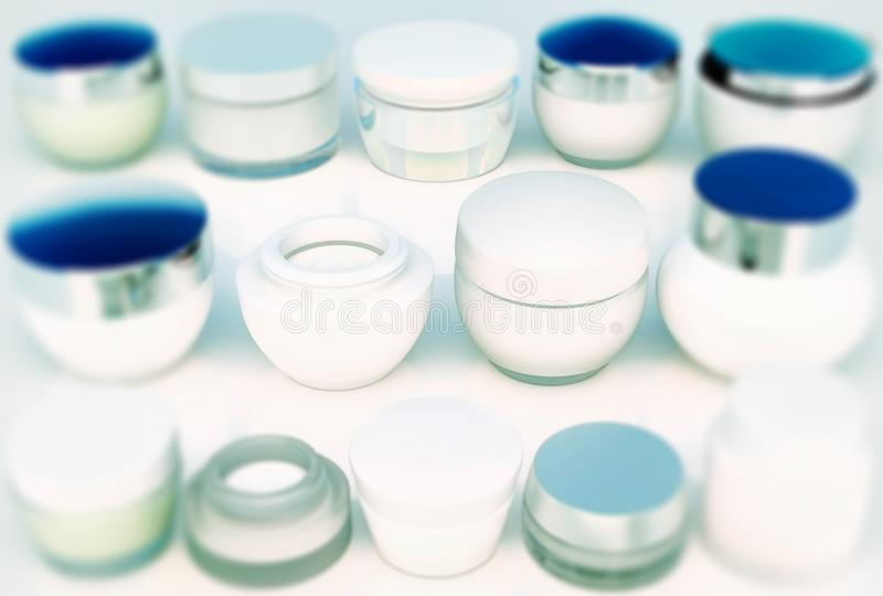 Lines of jars of skin care. The view from the top. Creams stock images