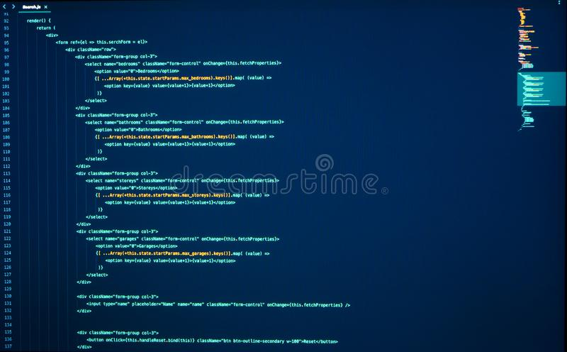 Lines of java coding on computer screen. Source code. Frontend development. React Coding. Script language for software development. Lines of java coding on stock photo