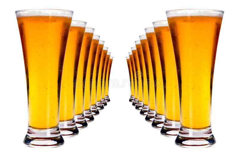 Lines Of Lager Beer Royalty Free Stock Image