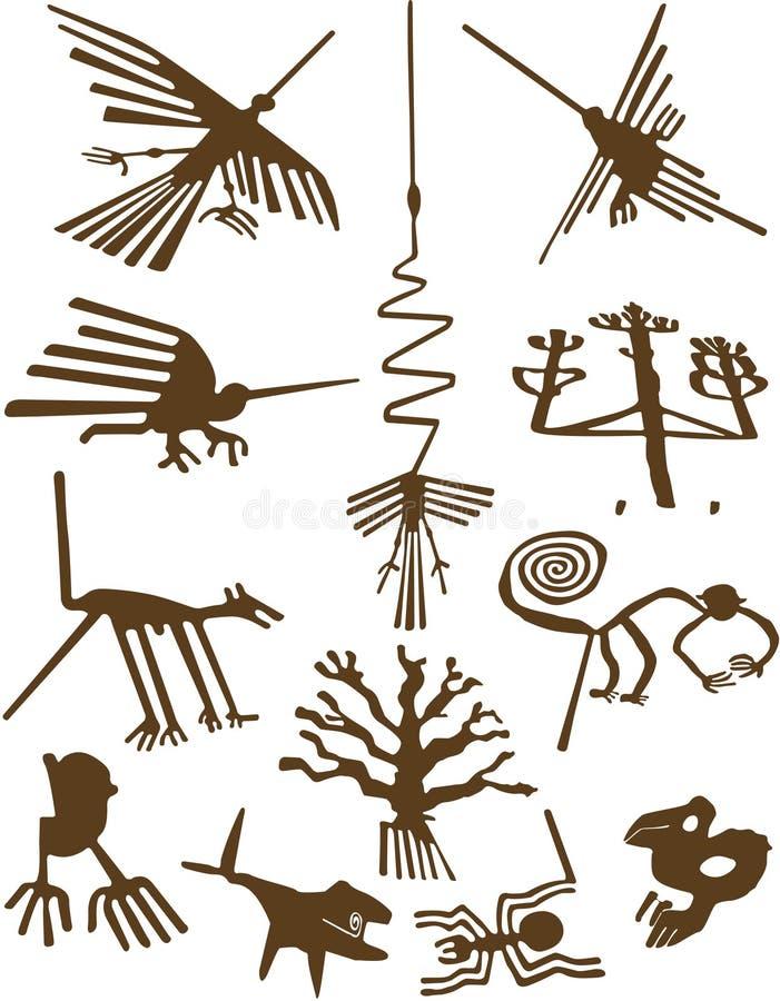 lines nazca royaltyfri illustrationer